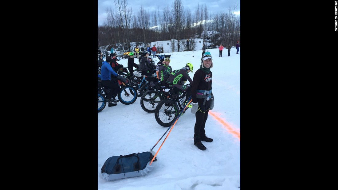At dawn, an announcer called the racers to the starting line with bikes in front, and counted down to the start. The starting line is about a 60 mile drive from Anchorage.