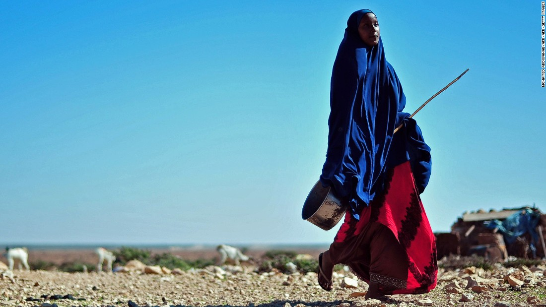 A woman walks through a dry area close to Dhahar in Puntland, northeastern Somalia. Drought in the region has severely affected livestock for local herdsmen.