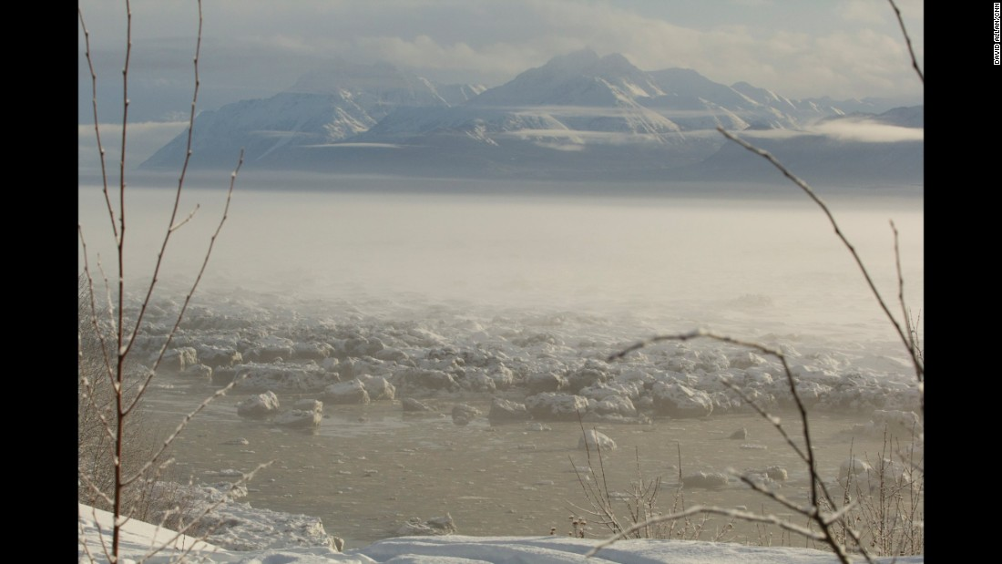 The race course winds through small frozen lakes, rivers, bogs and woods in the shadow of the Chugach Mountains.