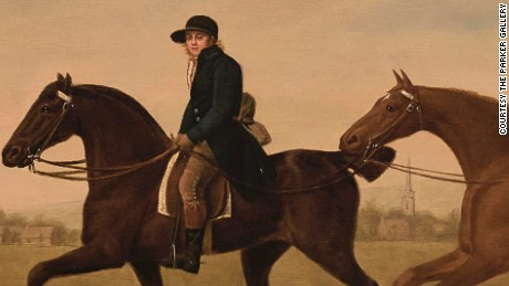 George Stubbs ARA (1724--1806) Two Hacks, the property of Henry Ulrick Reay Esq of Burn Hall Co. Durham and their blue-liveried groom in a landscape 1789 Oil painting on panel 54.6 x 73.7 cm  © The Parker Gallery