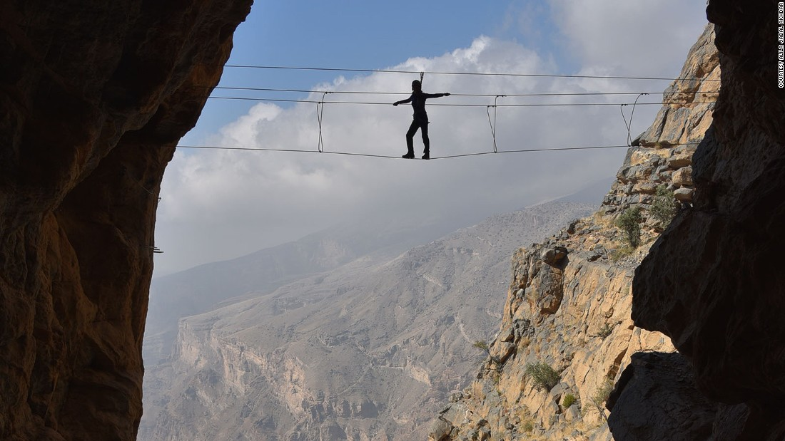 <strong>Wire bridge:</strong> To complete the journey, climbers have to walk across a wire bridge suspended twenty meters above the valley.