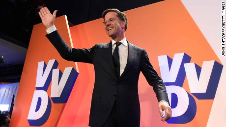 Netherlands' prime minister and VVD party leader Mark Rutte celebrates after winning the general elections in The Hague on March 15, 2017. 