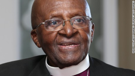 Desmond Tutu during a visit with Prince Harry on the first day of his visit to South Africa on November 30, 2015.