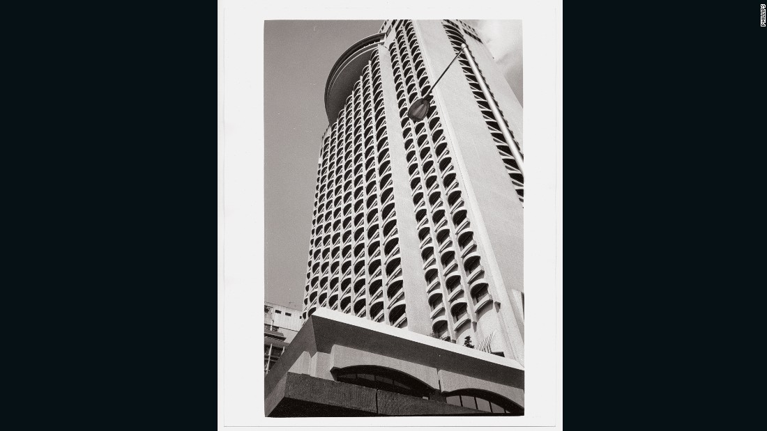 "A geometric shot of the now demolished Furama Hotel. Warhol was accompanied by curator Jeffrey Dietsch on the Hong Kong leg of the China trip. ""We did tours all over Hong Kong -- The Peak, the ferry, all the usual things,"" said Dietch."
