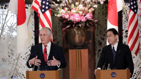 "U.S. Secretary of State Rex Tillerson, left, speaks beside Japanese counterpart Fumio Kishida, right,  during a joint press conference after their bilateral meeting at Foreign Ministry's Iikura guest house in Tokyo, Thursday, March 16, 2017.  Tillerson said Thursday cooperation with allies Japan and South Korea is ""critical"" to addressing the threat from North Korea's nuclear and missile programs. (AP Photo/Eugene Hoshiko)"