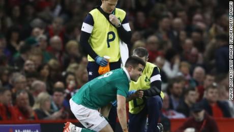 Ireland's Conor Murray receives treatment during the Six Nations match against Wales in Cardiff.