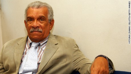 "Poet Derek Walcott, here in Italy in 2008, was called a ""true son"" of St. Lucia."