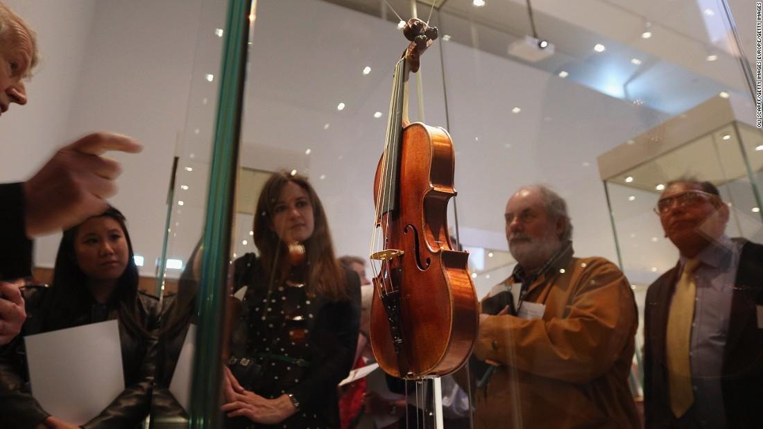 "The ""Lady Blunt"" violin, which was part of a 2013 museum exhibition of Stradivari instruments, sold for £9.8 million (then $15.9 million) at a Tarisio online auction in 2011. It's currently the most expensive musical instrument sold at auction, according to the <a href=""http://www.guinnessworldrecords.com/world-records/most-expensive-musical-instrument-sold-at-auction"" target=""_blank"">Guinness Book of World Records</a>."
