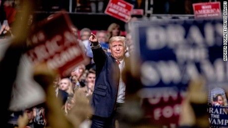 NASHVILLE, TN - MARCH 15: President Donald Trump speaks at a rally on March 15, 2017 in Nashville, Tennessee. During his speech Trump promised to repeal and replace Obamacare and also criticized the decision by a federal judge in Hawaii that halted the latest version of the travel ban. (Photo by Andrea Morales/Getty Images)
