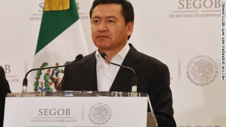 Mexico's Interior Minister Miguel Angel Osorio Chong offers a press conference regarding the standoff with teachers protesting education reforms that have prompted deadly demonstrations, in Mexico City on July 1, 2016. Chong said the government won't allow more roads blocks by teachers who have spent months protesting against President Enrique Pena Nieto's landmark reform, enacted in 2013, requiring educators to undergo performance evaluations. Thousands of teachers of the radical CNTE teachers union maintain different roads blocked against the reform and the release of two of its leaders, accused of handling illegal proceeds. / AFP / Hector GUERRERO        (Photo credit should read HECTOR GUERRERO/AFP/Getty Images)