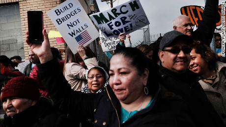ELIZABETH, NJ - FEBRUARY 23:  People protest outside of the Elizabeth Detention Center during a rally attended by immigrant residents and activists on February 23, 2017 in Elizabeth, New Jersey. Over 100 demonstrators chanted and held up signs outside of the center which is currently holding people awaiting deportation. The demonstrators, five of whom were arrested, denounced President Donald Trump and his deportation policies. Around the country stories of Immigration and Customs Enforcement (ICE) raids have sent fear through immigrant communities.  (Photo by Spencer Platt/Getty Images)