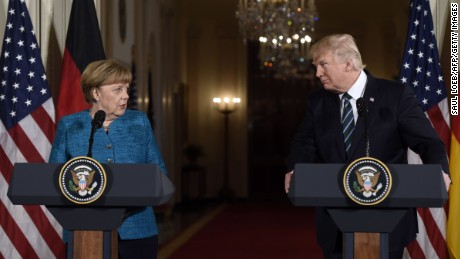 Peer to peer: Merkel's first meeting with Trump