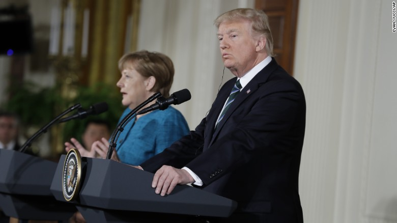 President Donald Trump and German Chancellor Angela Merkel participate in a joint news conference in the East Room of the White House in Washington, Friday, March 17, 2017.
