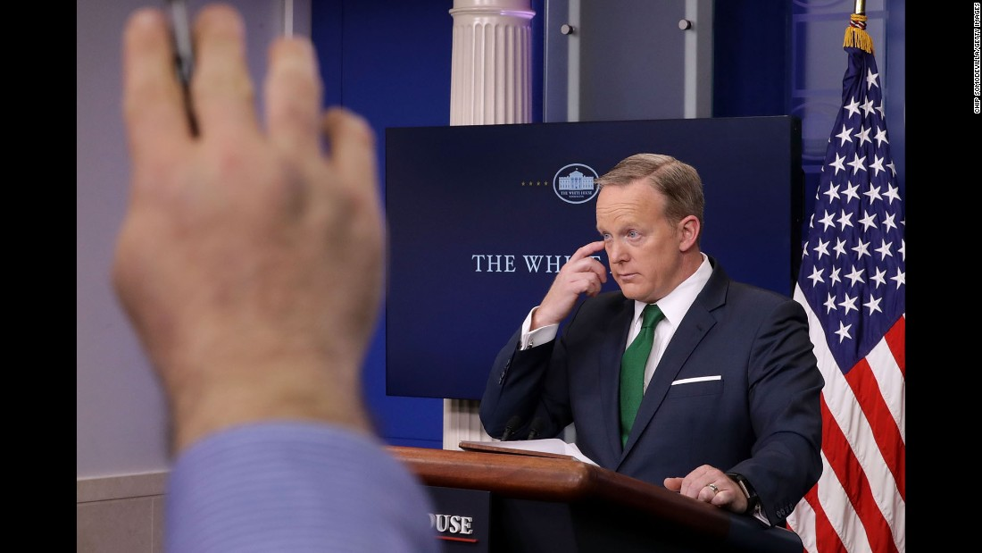 White House Press Secretary Sean Spicer answers reporters' questions in Washington on Thursday, March 16.