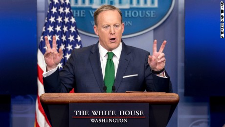 White House press secretary Sean Spicer talks to the media during the daily press briefing at the White House in Washington, Thursday, March 16, 2017. Spicer discussed President Donald Trump's assertion that former President Barack Obama wire tapped him, the Trump Administration's proposed budget, and other topics.