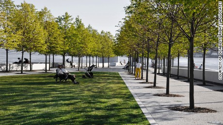 The Franklin D. Roosevelt Four Freedoms Park on Roosevelt Island in New York City.