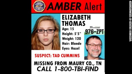 The Tennessee Bureau of Investigations is extending an amber alert for Elizabeth Thomas, 15m who has been since Monday, March 13. Authorities says Thomas is with 50-year-old Tad Cummins, a former teacher at Thomas' school.