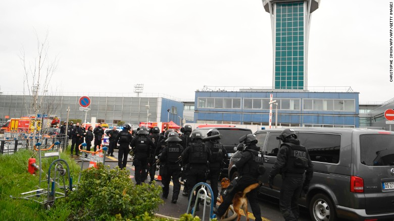 French police secure the area at Orly airport on Saturday.