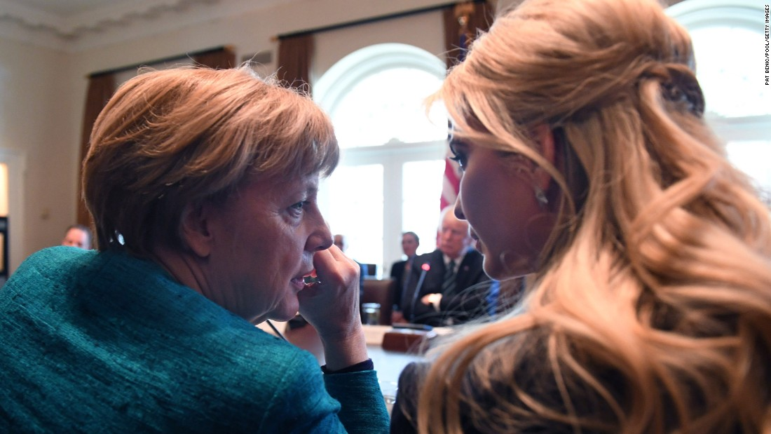 "German Chancellor Angela Merkel, left, speaks with Ivanka Trump during a roundtable discussion at the White House on Friday, March 17. In Merkel's <a href=""http://www.cnn.com/2017/03/16/politics/angela-merkel-donald-trump-washington-visit/index.html"" target=""_blank"">first US visit during the Trump administration,</a> she and President Donald Trump discussed issues that included NATO, ISIS and the ongoing conflict in Ukraine."