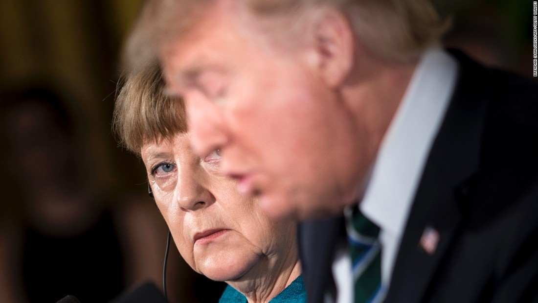 "German Chancellor Angela Merkel looks at Trump during a <a href=""http://www.cnn.com/2017/03/17/politics/donald-trump-angela-merkel/"" target=""_blank"">joint news conference</a> at the White House on Friday, March 17."
