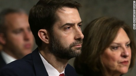 "WASHINGTON, DC - FEBRUARY 09:  U.S. Sen. Tom Cotton (R-AR) (2nd R) and Sen. Deb Fischer (R-NE) (R) listen during a hearing before Senate Armed Services Committee February 9, 2017 on Capitol Hill in Washington, DC. The committee held a hearing on ""Situation in Afghanistan.""  (Photo by Alex Wong/Getty Images)"