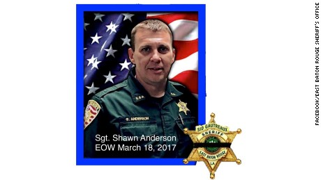 Sgt Shawn Anderson of the East Baton Rouge Parish Sheriff's Office was killed Saturday night.