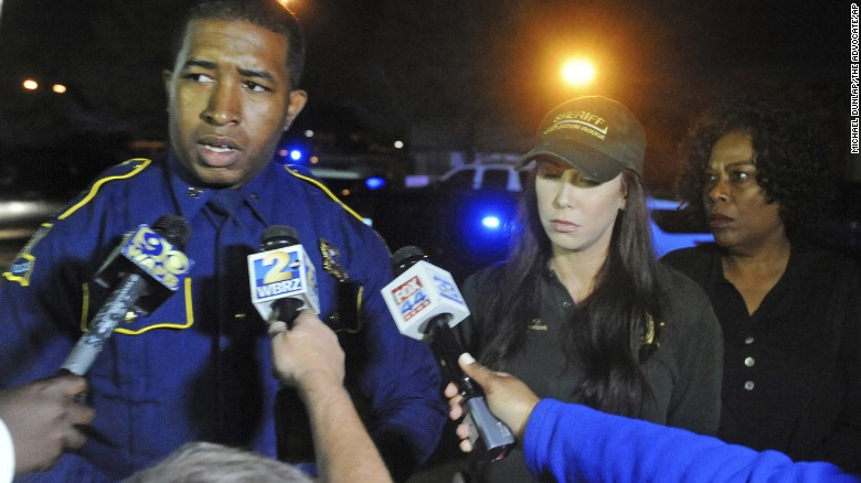 Bryan Lee of the Louisiana State Troopers addresses media Sunday about the fatal shooting of an East Baton Rouge sheriff's deputy.