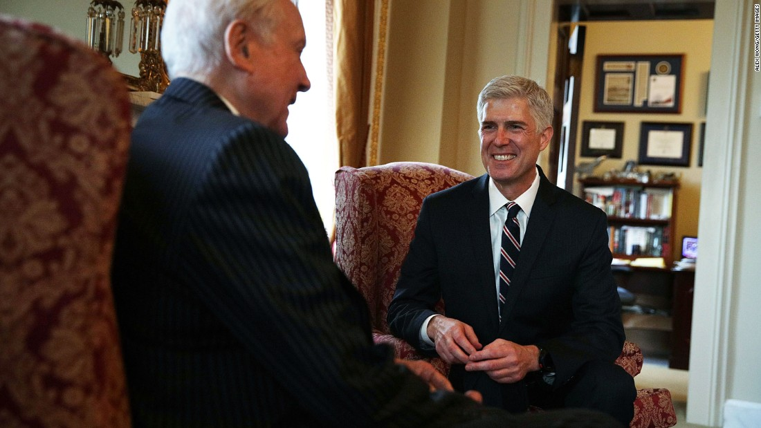US Sen. Orrin Hatch, R-Utah, meets with Gorsuch at the Capitol on February 1, 2017.