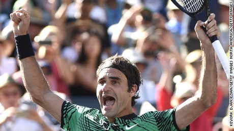 Roger Federer celebrates after defeating Stanislas Wawrinka in the men's final at Indian Wells