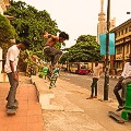 three boys skateboarding Lagos