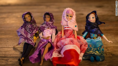 "Dolls in the handmade tiny hijabs aimed at raising ""a kinder generation"""