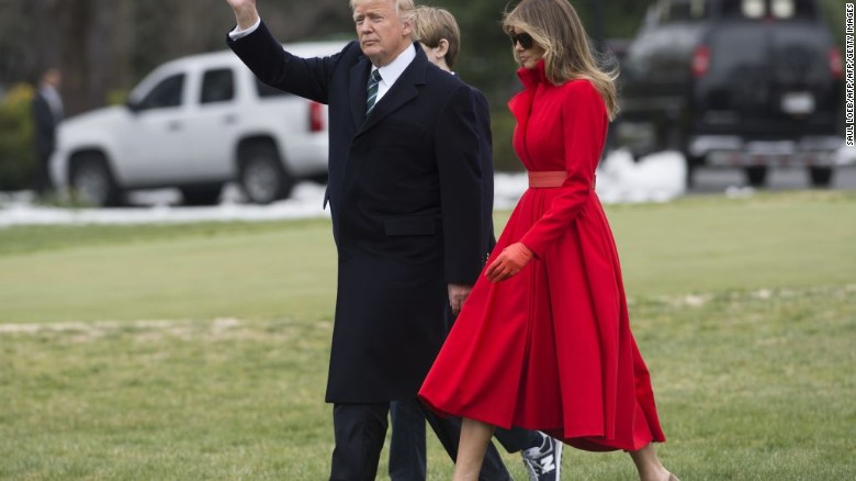 US President Donald Trump, First Lady Melania Trump and their son, Barron, walk to Marine One prior to departing from the South Lawn of the White House.