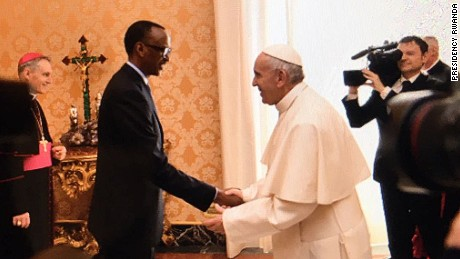 Rwandan President Paul Kagame received by His Holiness Pope Francis at the Apostolic Palace, Vatican to discuss bilateral relations between Rwanda and the Holy See