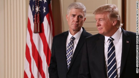 WASHINGTON, DC - JANUARY 31:  U.S. President Donald Trump (R) nominates Judge Neil Gorsuch to the Supreme Court during a ceremony in the East Room of the White House January 31, 2017 in Washington, DC. If confirmed, Gorsuch would fill the seat left vacant with the death of Associate Justice Antonin Scalia in February 2016.  (Photo by Chip Somodevilla/Getty Images)