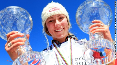 ASPEN, CO - MARCH 19:  Mikaela Shiffrin of United States celebrates with the globes for being awarded the overall season ladies' champion and lasies' season slalom champion at the 2017 Audi FIS Ski World Cup Finals at Aspen Mountain on March 19, 2017 in Aspen, Colorado.  (Photo by Tom Pennington/Getty Images)