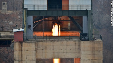 "This undated picture released by North Korea's official Korean Central News Agency (KCNA) on March 19, 2017 shows the ground jet test of a newly developed high-thrust engine at the Sohae Satellite Launching Ground in North Korea. North Korea has tested a powerful new rocket engine, state media said on March 19, with leader Kim Jong-Un hailing the successful test as a ""new birth"" for the nation's rocket industry. / AFP PHOTO / KCNA VIA KNS / STR / South Korea OUT / REPUBLIC OF KOREA OUT   ---EDITORS NOTE--- RESTRICTED TO EDITORIAL USE - MANDATORY CREDIT ""AFP PHOTO/KCNA VIA KNS"" - NO MARKETING NO ADVERTISING CAMPAIGNS - DISTRIBUTED AS A SERVICE TO CLIENTS THIS PICTURE WAS MADE AVAILABLE BY A THIRD PARTY. AFP CAN NOT INDEPENDENTLY VERIFY THE AUTHENTICITY, LOCATION, DATE AND CONTENT OF THIS IMAGE. THIS PHOTO IS DISTRIBUTED EXACTLY AS RECEIVED BY AFP.    /         (Photo credit should read STR/AFP/Getty Images)"
