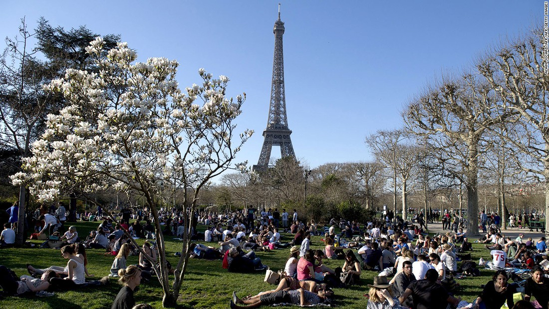 <strong>Paris in spring: </strong>First proper sign of spring in Paris: when picnic crowds begin popping up around the city.