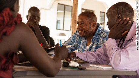 Forest Whitaker conducting a training for youth leaders in conflict resolution in South Sudan.