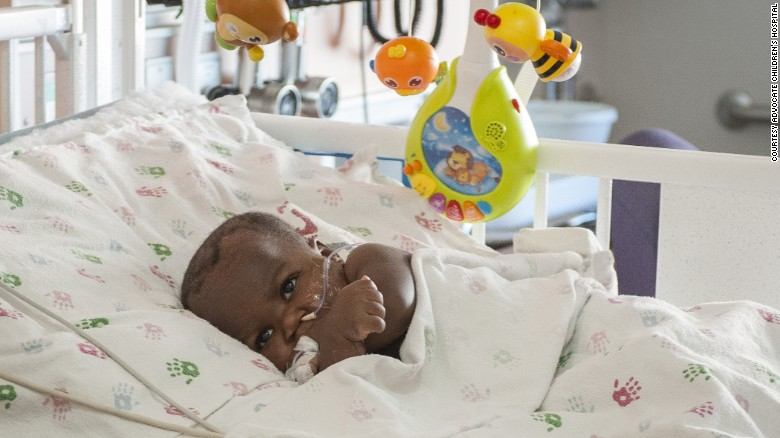 Baby Dominique in the hospital.