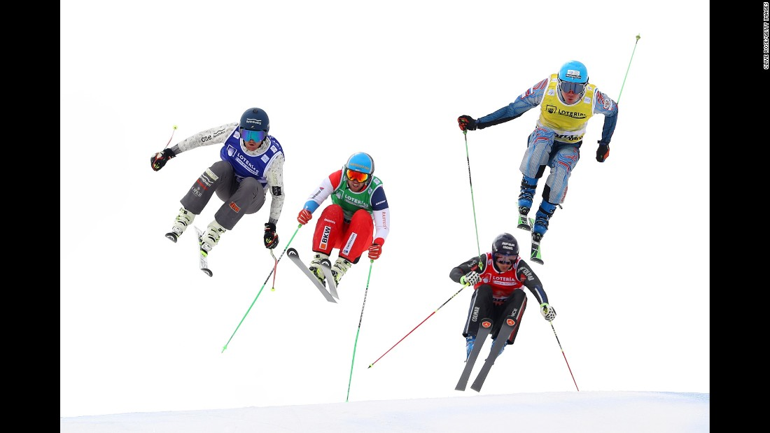 Ski cross athletes race at the World Championships in Sierra Nevada, Spain, on Saturday, March 18.