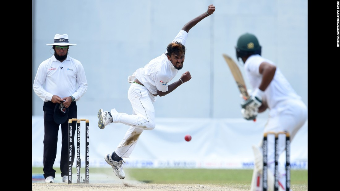 Sri Lankan cricketer Suranga Lakmal delivers the ball during a Test match against Bangladesh on Friday, March 17. Bangladesh won by four wickets.
