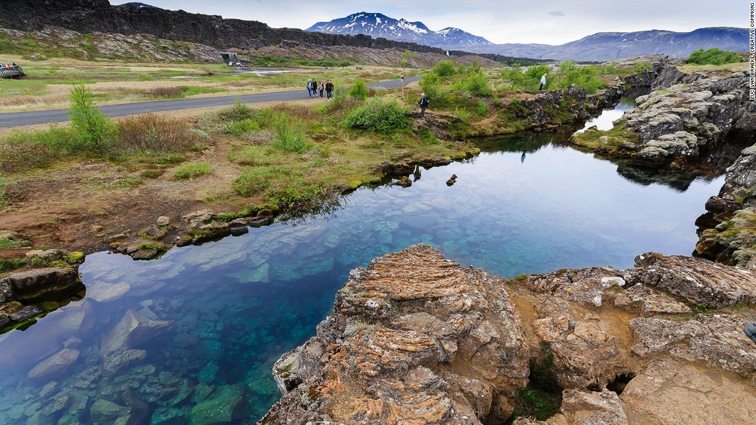 <strong>Þingvellir National Park: </strong>The Þingvellir national park is where the North American and Eurasian tectonic plates meet. The two are drifting apart a few centimeters each year and Iceland will eventually be pulled in two at this spot.
