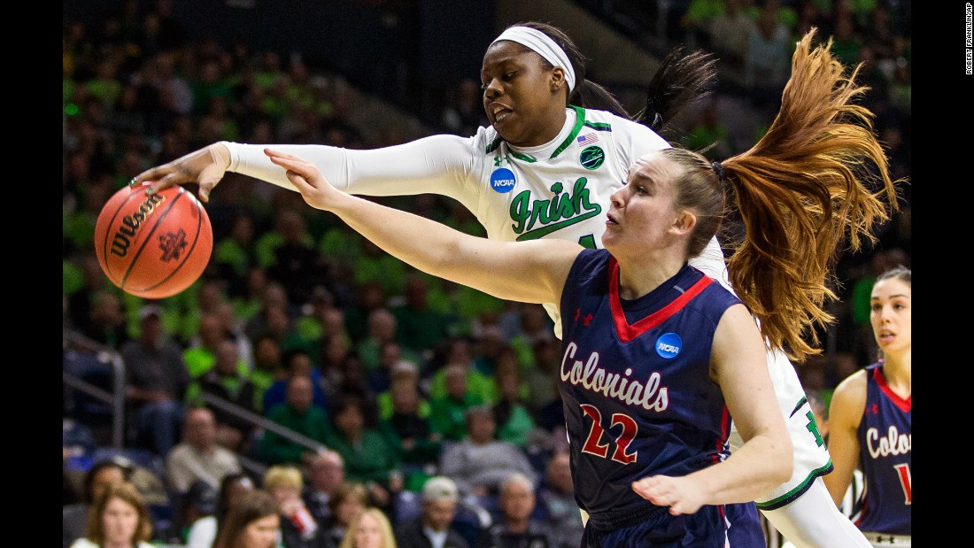 Notre Dame's Arike Ogunbowale, top, knocks the ball away from Robert Morris' Megan Smith during the first round of the NCAA Tournament on Friday, March 17. Ogunbowale scored 15 points in the Fighting Irish's 79-49 victory.
