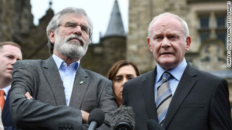 McGuinness and Adams were both leading figures in the Northern Ireland peace process.