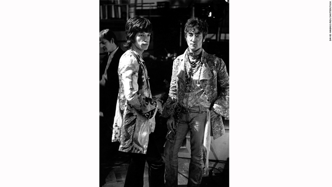 The band invited celebrity friends like Mick Jagger (pictured here with John Lennon) and Marianne Faithful to attend the taping.