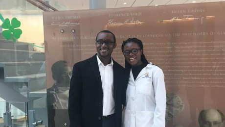 Nancy Abu-Bonsrah and her husband celebrate her match with John's Hopkins Hospital for a neurosurgical residency