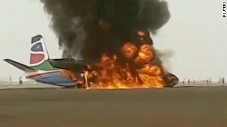 (CNN) — A commercial plane on Monday made a crash landing in poor weather at an airport in South Sudan, causing several injuries among the 43 on board.