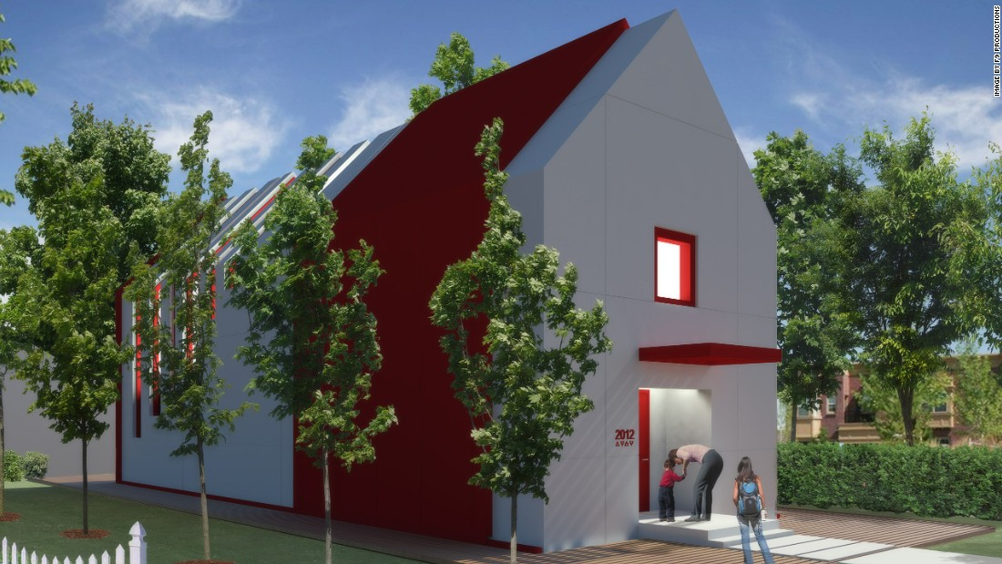 The hero house, designed by F9 Productions, is designed to fit into inner city lots, and boast plenty of protection for disasters. It's triangular shape and base isolation bearing footings protect the home from seismic events. <br />
