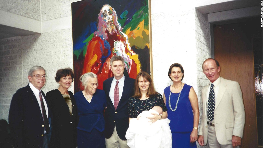 Neil and Marie Louise Gorsuch pose with family members at their daughter's baptism in 2000.