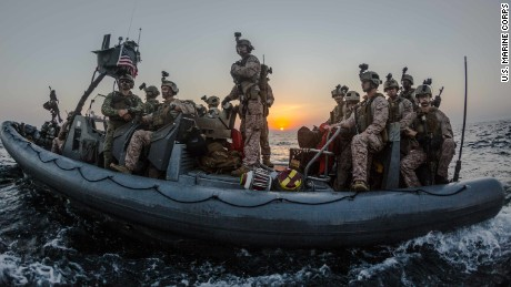161217-M-WQ703-001 GULF OF ADEN (Dec. 17, 2016) U.S. Marines assigned to the 2nd Platoon, Maritime Raid Force, 11th Marine Expeditionary Unit (11th MEU), position their rigid-hull inflatable boat to conduct a visit, board, search and seizure (VBSS) mission as part of Exercise Alligator Dagger, Dec. 17, 2016. The unilateral exercise provides an opportunity for the Makin Island Amphibious Ready Group and 11th MEU to train in amphibious operations within the U.S. 5th Fleet area of responsibility. The 11th MEU is currently supporting U.S. 5th Fleet's mission to promote and maintain stability and security in the region. (U.S. Marine Corps photo by Gunnery Sgt. Robert B. Brown Jr./Released)